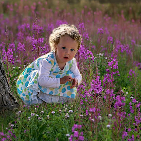 Fairy Tales  by Una Williams Photos - Babies & Children Child Portraits ( field, child, girl, tree, flowers )