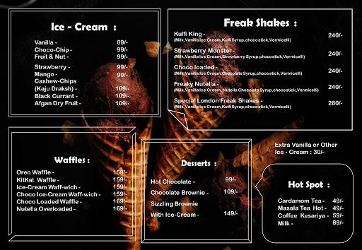 The London Shakes menu 3