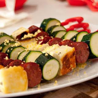Chorizo, Haloumi and Zucchini Kebabs.