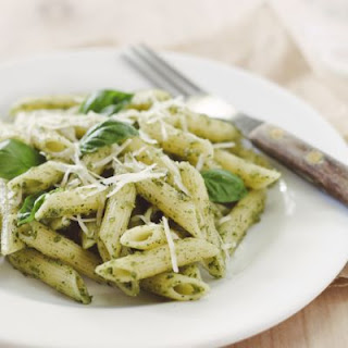 Penne Pasta with Fresh Pesto Sauce.