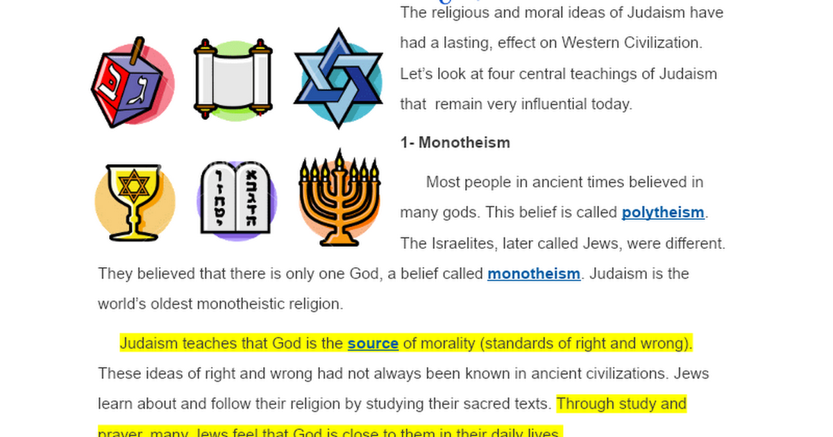The Central Teachings Of Judaism Is Religion Jewish People And One World S Most Important Religious Traditions