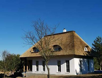 Elegancki biały dom z dachem z trzcinowym w pogodny wczesnowio dzień