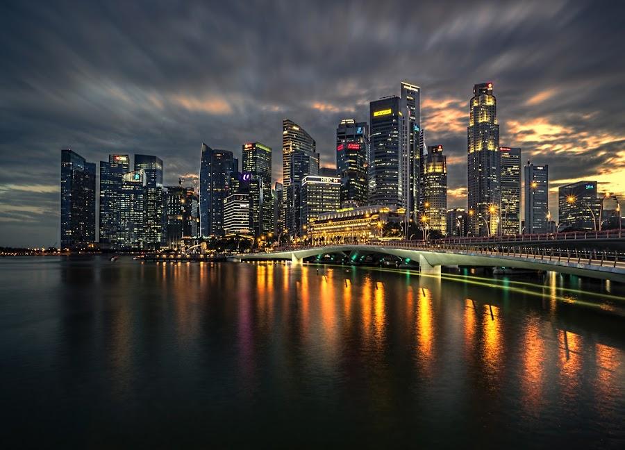 Dusk @ Shenton Way by Gordon Koh - City,  Street & Park  Skylines ( shenton way, clouds, skyline, reflection, riverfront, cityscape, singapore, lights, urban, fiery, cbd, skyscraper, sunset, dramatic, asia, night, jubilee bridge, waterfront )