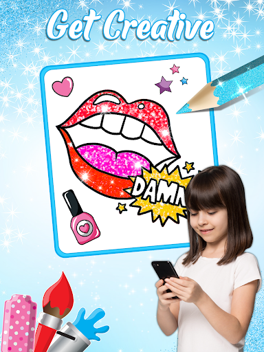Glitter Lips with Makeup Brush Set coloring Game screenshot 10