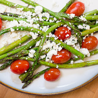 Roasted Asparagus and Tomato Salad with Balsamic Goat Cheese