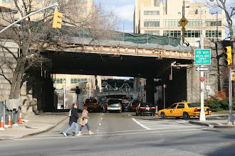 Photo: Traffic going under the Brooklyn Bridge towards the Manhattan Bridge.