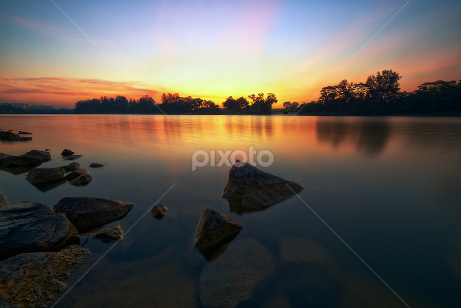 Glow by Partha Roy - Nature Up Close Rock & Stone ( reservoir, serene water, park, waterscape, sunset, rock, singapore )