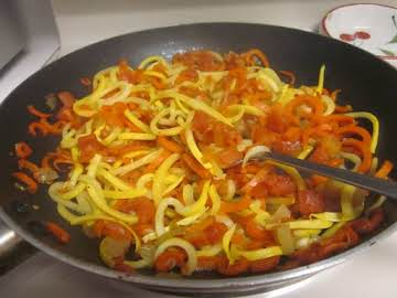 Spiralized Carrots & Squash with Ro-tel Tomatoes