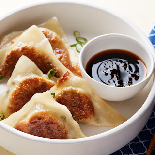 Vegetable Pot Stickers with Sesame-Ginger Dipping Sauce.
