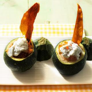 Zucchini with Salmon, Prawns and Sweet Potato Stuffing.