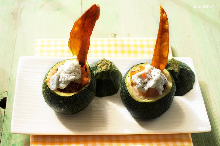 Zucchini with Salmon, Prawns and Sweet Potato Stuffing Recipe