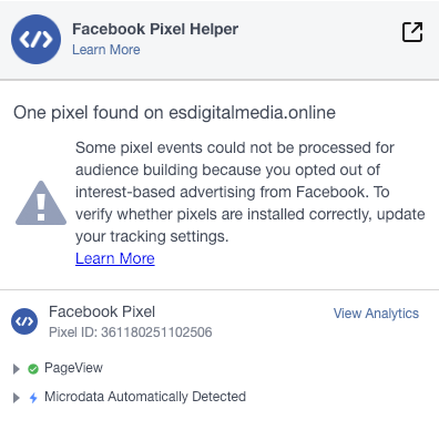 facebook pixel confirmation