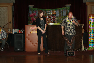 Photo: Marlene and Troy Winkel, The Honest Plumber & Rooter Service, look at the chapter Eagle Award.  The award was in recognition for the help the Winkel family gave the chapter in a rough finanical time.