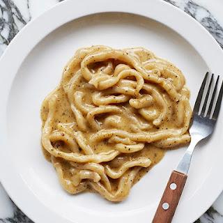 Pici Cacio E Pepe (Pici With Parmesan, Black Pepper and Golden Garlic).