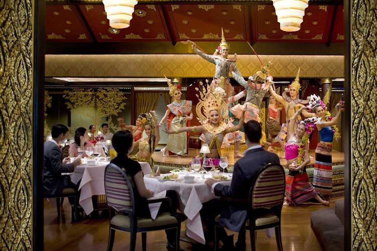 Dancers perform at the Sala Rim Naam restaurant in the Mandarin Oriental, Bangkok.