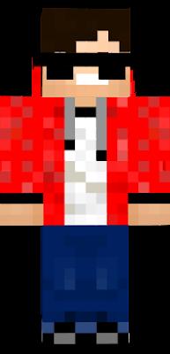 Han ha¨r rød hettejakke solbriller hvit t-shorte unner den røde hettejakka blå bokse og svarte sko og har brunt hår og brune øyne.