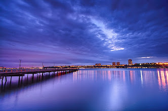 Photo: Blue Hour Upper West Side, NYC  I took this during a #Drinkanclick event on Saturday. I was so excited to see a pier in New York City, but was hoping for a little better of a sunset. Blue hour came out very pretty- I had to even desaturate the blue in this image, because it was a little overpowering for me.  On a side note- It's been a little over a week since I've uploaded a photo and there are lots of changes going on! Can I no longer share a photo from my album directly without having to go back in and share it after I've finished uploading? This changes my workflow a little bit and I may start just sharing directly from posts instead even though I like having everything in my one album :/