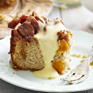 Upside Down Pumpkin Cake with Honey Nut Topping