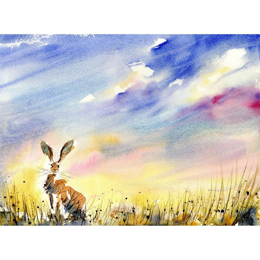 Wildlife painting animal british art hare rabbit original watercolour