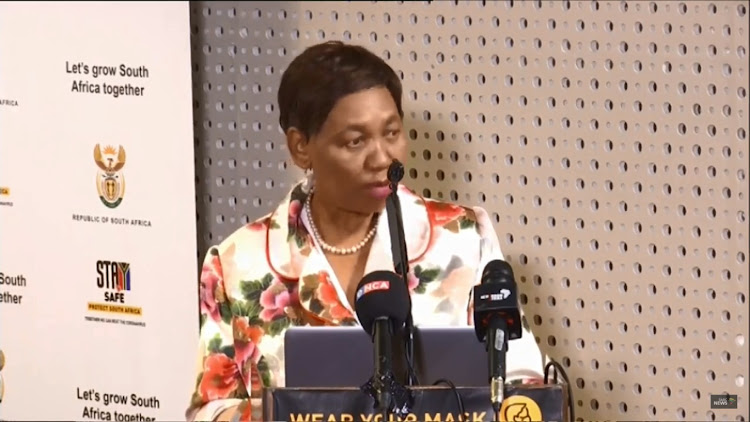 Basic education minister Angie Motshekga during a media briefing on Sunday, ahead of the reopening of schools on Monday.