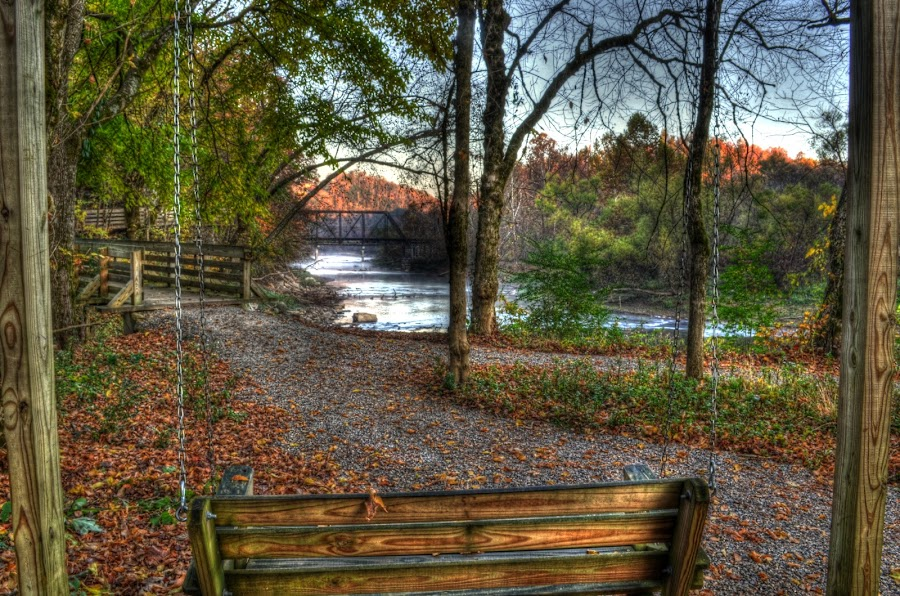 Swing by the River by Greg Mimbs - City,  Street & Park  City Parks ( valley river, water, murphy north carolina, fall leaves, trees, bridge, swing, river walk,  )