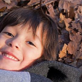 by Judy Florio - Babies & Children Children Candids ( playing, autumn, fall, fun, cute, leaves, boy )