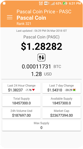 pascal cryptocurrency price
