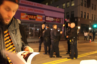 Photo: Oakland Police officers in the background, about the shut down the event around 10pm.
