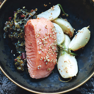 Slow-Cooked Salmon with Turnips and Swiss Chard