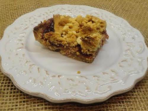 """Double Crunch Peanut Butter and Jam Bars """"I always have to make..."""