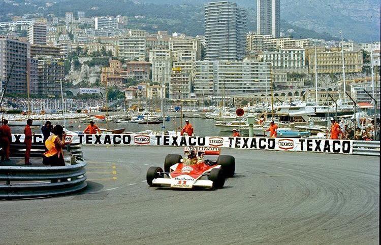 James in the McLaren at Monaco Grand Prix [Source: James Hunt Foundation]