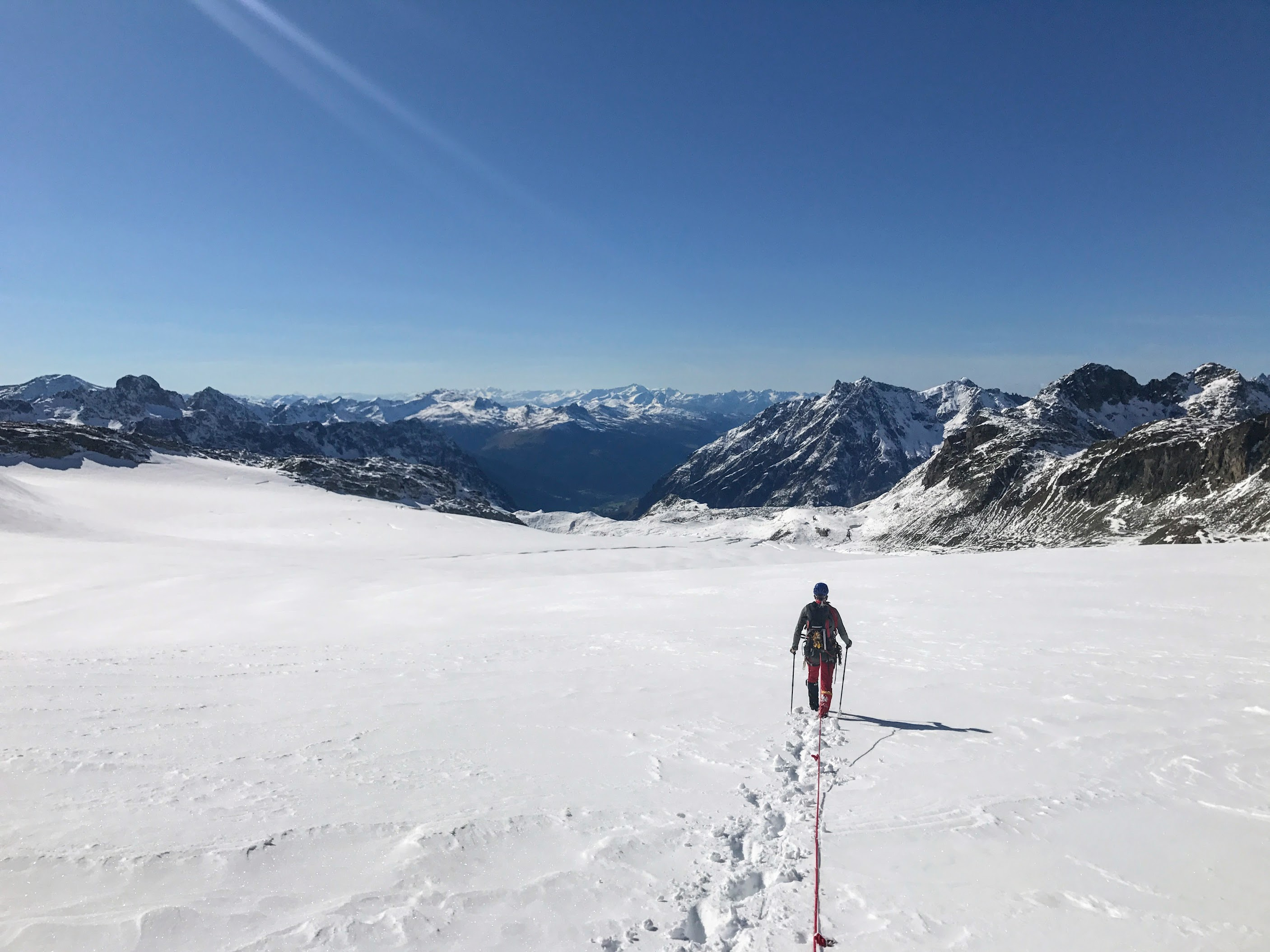 Siemen breaking trail on the Silvretta glacier