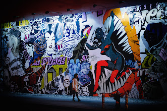 """Photo: """"Night visions...""""  When I was really young I used to imagine that at night when the majority of people went to sleep in New York City, all of the graffiti and street art on the walls would come to life. I still like to think this is the case.  FAILE is an artistic collaboration between Patrick McNeil and Patrick Miller. This wheat-paste masterpiece is the current project of theirs that graces the iconic wall at the corner of Houston Street and the Bowery.    New York Photography: FAILE street art. East Village, New York City.    You can view this post if you wish at my site here:  http://nythroughthelens.com/post/16947629195/faile-street-art-houston-and-bowery-east  -  Tags: #photography #streetart #publicart #art #graffiti #wheatpaste #faile #failewall #eastvillage #newyorkcity #nyc #manhattan #night"""