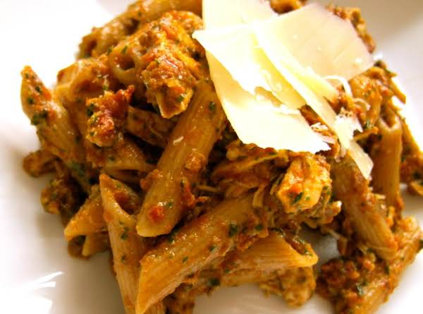 Penne With Sun Dried Tomato Pesto And Chicken