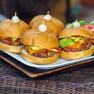 BBQ Bacon Avocado Cheddar Bison Burgers.
