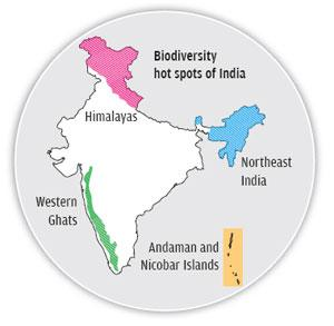Image result for india biodiversity hotspots map