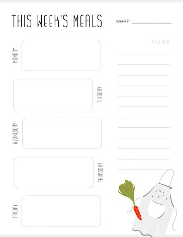 This Week's Meals & Apron - Planner template