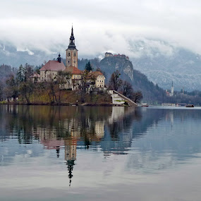 Island on the lake Bled by Marjan Gresl - Landscapes Travel ( water, churche, lake, mountines, island )