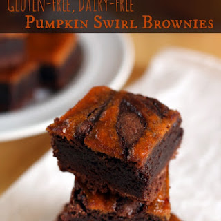 Gluten-Free Dairy-Free Pumpkin Swirled Brownies.
