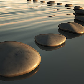 step stones sunset by Markus Gann - Landscapes Waterscapes ( stone, rock, travel, beach, yellow, nature, power, perspective, motion, light, black, spa, shiny, signs, white, steps, row, solid, liquid, outdoors, scene, bridge, golden, straight, pebble, reflection, way, line, landscape, clear, buddhism, clean, harmony, spirituality, gold, abstract, water, ideas, backgrounds, sea, traditional, color, sunset, background, zen, summer, night, bow, success, energy )