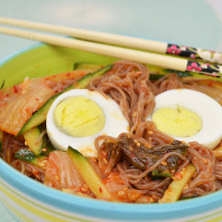 Korean Arrowroot Vermicelle Noodles with Kimchi & Fresh Cucumbers