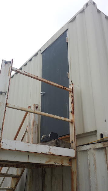 Replacement of rusted out shipping container hollow metal door