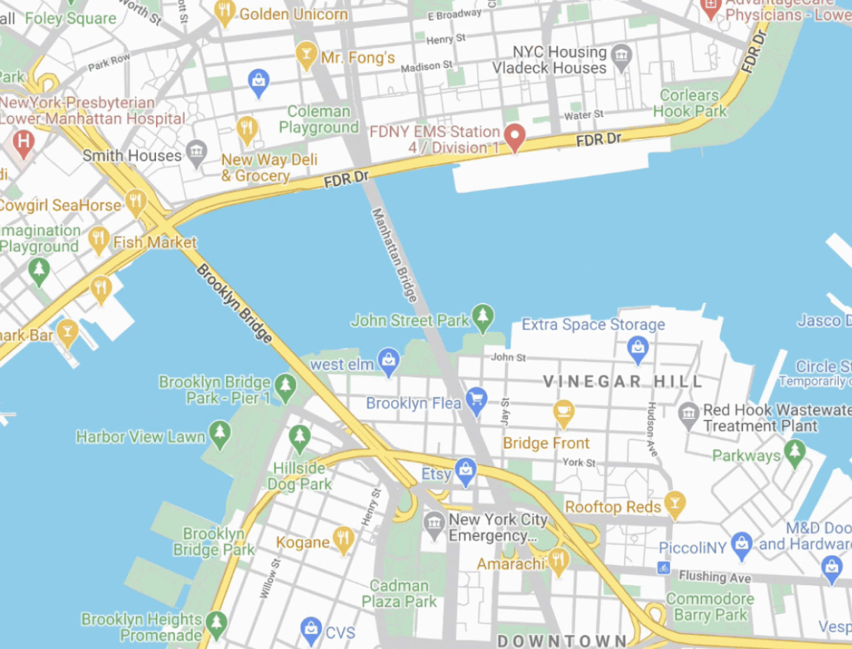 A stylized map of the Brooklyn Bridge