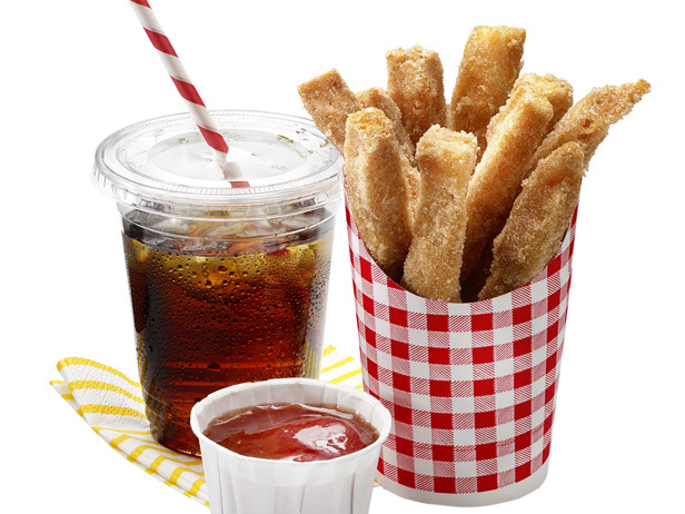 """Photo: April Fools' Fries: Cinnamon-Sugar Sticks: These french fry look-alikes are really fried breadsticks rolled in cinnamon and sugar. Their fruity """"ketchup"""" - strawberry jelly - is a perfect dipper. Get this recipe>> http://ow.ly/9ZUdS"""