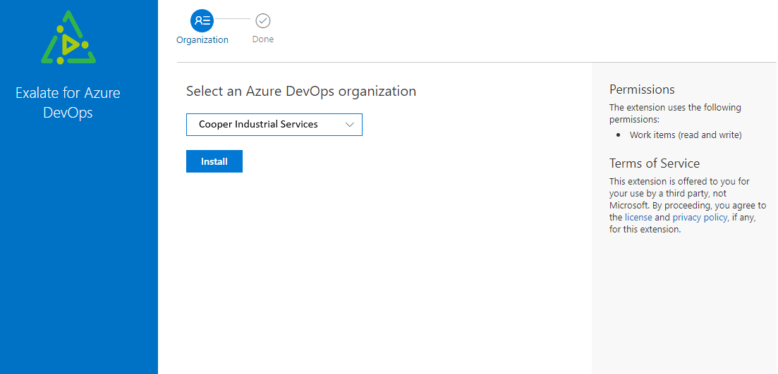 select your azure devops organization