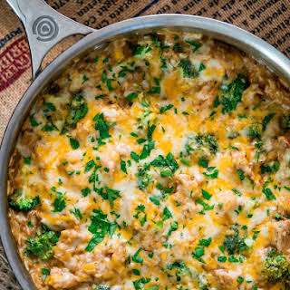 One Pot Cheesy Chicken Broccoli and Rice Casserole.