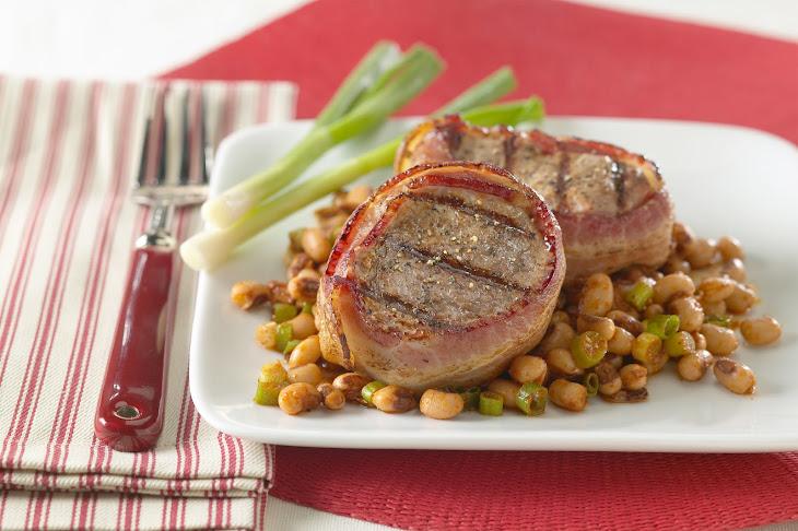 Bacon Wrapped Pork Tenderloin with Texas Caviar