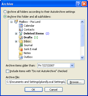 """Click on the radio button next to the """"Archive this folder and all subfolders"""" option and write a date under """"Archive items older than."""""""