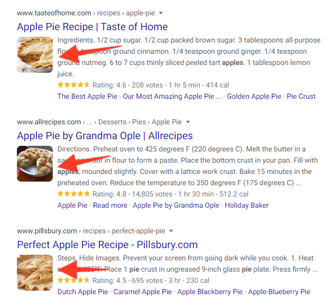 Google search results with square images