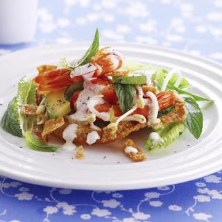 Shrimp Salad with Crispy Wontons and Chili Lime Mayonnaise.